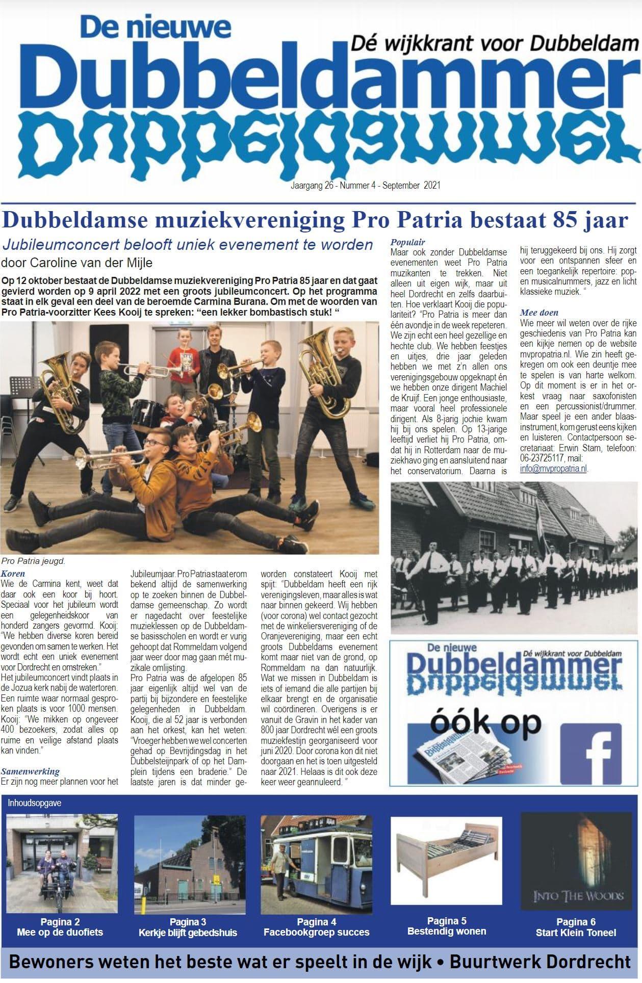 Pro Patria Artikel de nieuwe Dubbeldammer